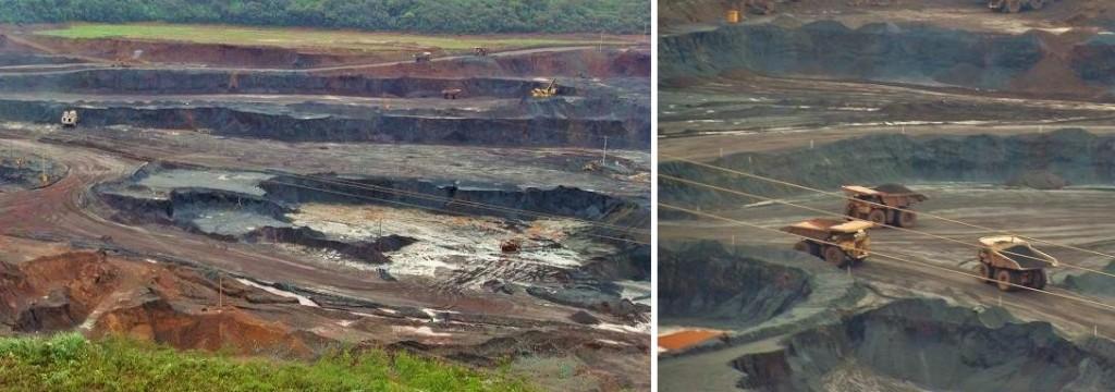 Mina de Carajás, no Pará, de onde é extraído o ferro exportado pelo Brasil. No detalhe, caminhões de 6,5 metros de altura, mais de 8 metros de largura e 13 metros de comprimento, que de longe parecem mal aparecem na imagem. Foto: Daniel Santini