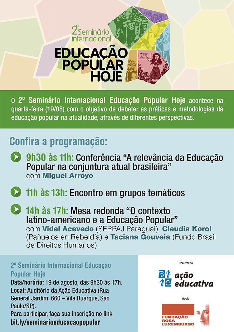 Educação Popular na atualidade é tema de seminário internacional