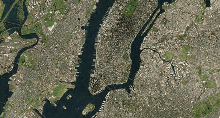 Nueva York. Imagem: Landsat/NASA