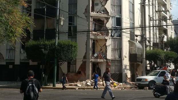 Ein vom Erdbeben zerstörtes Haus in Mexiko City.