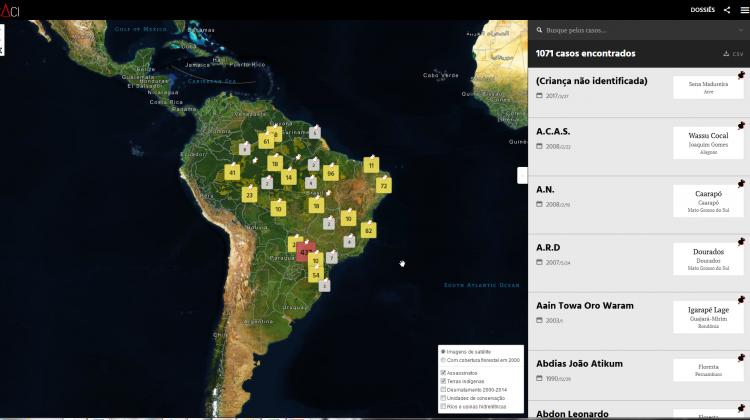 Plataforma Caci mapeia mais de mil assassinatos de indígenas nas últimas três décadas